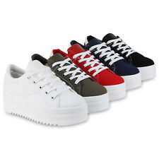 Damen Plateau Sneaker Derbe Plateauschuhe Freizeit Schnürer Profil 833715 Schuhe