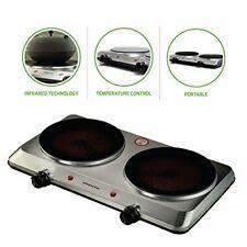 Electric Cooktop Burner Infrared Ceramic Glass Plate 2 Burner Cooking Stove1500W