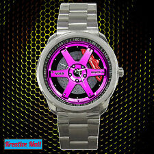 New Volk Racing TE37SL Rim Wheel Sport Metal Watch PINK Design Very HOT Item!