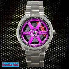 New Volk Racing TE37SL Rim Wheel Sport Metal Watch PINK Design Very HOT Item!