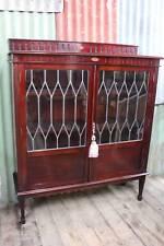A Sheraton Revival Leadlight Bookcase - Display Cabinet