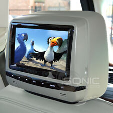 "Universal 7 ""GREY leather-style Dvd Auto Poggiatesta con HD / SD / USB / IR BMW E90 / E60"