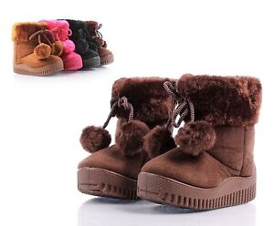 Brown Color Zipper Open Faux Fur Booties Toddlers Kids Girls Winter Boots Size 7