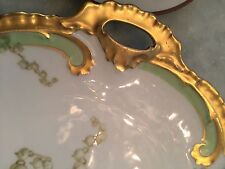 Beautiful Antique Limoges Porcelain Handled Plate ~ Lily of the Valley Gold Gilt