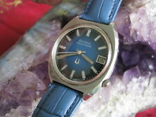 Bulova Accutron 218 Vintage Stainless Steel Wrist Watch, Blue Face 1974