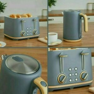 NEW - Scandi-inspired 4 slice toaster and kettle Set - Grey & Wood effect (multi
