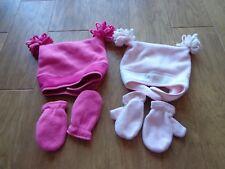 Old Navy toddler girl's Euc sz M hat & glove sets (2) pinks w/strap