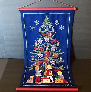 Vtg Christmas Tree Presents Wall Hanging Blue Handmade Embroidery Needle Work