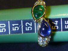 Ring 750 Gelbgold, 1 A Saphir und Smaragd, Brillanten tw/vsi