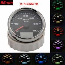 Digital 85mm Tachometer 6K RPM Gauge Truck Car Boat Counter 8 color Backlight