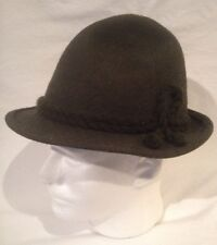 Vintage Men's Dark Green 100% Wool Fedora Larping Hat Size Small 6 3/4