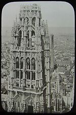 Glass Magic Lantern Slide ROUEN CATHEDRAL BUTTER TOWER C1900 PHOTO FRANCE
