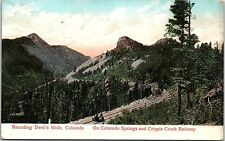 1913 Postcard Devil's Slide Colorado Springs Cripple Creek Railway Co Railroad