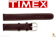 TIMEX Q7B854 Original 14mm Brown Stitched Oiled Leather Watch Band w/ 2Pins