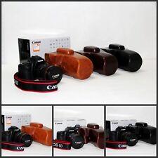 leather case bag For Canon 70D 60D SLR camera w/ 18-55mm 18-135mm 18-200mm lens