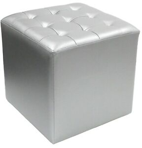 Silver Square Ottoman Stool Faux Leather Silver Padded Stool Cubed