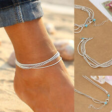 Silver Chain Anklet Summer Ankle Bracelet Barefoot Sandal Beach Foot Jewelry