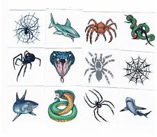 12 x Assorted Shark, Snake & Spider Temporary Tattoos - Kids Party Favours