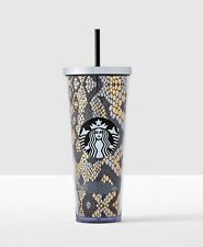 New 2016 Starbucks Texas Venti Cold Cup Gold Black Reptile Snake Print  24 oz