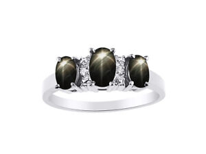 Diamond & 3 Stone Black Star Sapphire Ring Set In Sterling Silver - Color Stone