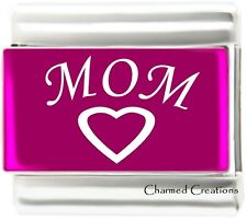 Mom Heart Pink Metallic Laser 9mm Italian Charm Modular Link Kids Family