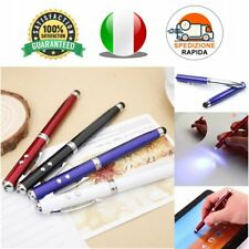 PUNTATORE LASER 4in1 PENNA A SFERA TORCIA LED TOUCH SCREEN BATTERIE INCLUSE