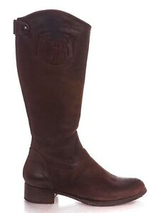 HUNTER Riding Boots 39 9 Brown Leather Knee High Equestrian Tall Round Block