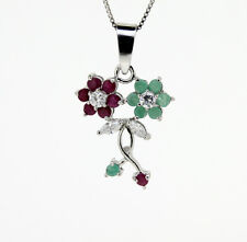 Edler Anhänger Rubine Smaragde  Zirkonia 925er Sterlingsilber Blüten