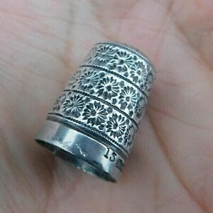 Antique SOLID SILVER THIMBLE 15 Marion & Co Chester 1901