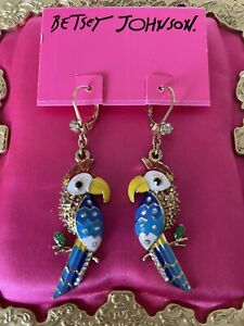 Betsey Johnson Vintage A Day At The Zoo Parrot Bird Tropical Earrings