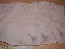 Lotto di 3 antichi FAZZOLETTI in lino rosa ricamato uncinetto ? d epoca vintage