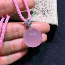 Top Natural Rose Quartz Star Light Sphere Pendant Silver Necklace 21mm AAAAA