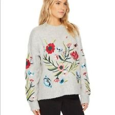 Romeo + Juliet Embroidered Floral Pullover Sweater Women's Size Small S