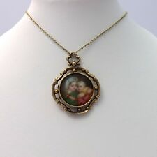 Victorian 14k Gold Painted Portrait Mother Baby Mourning Locket Pendant Necklace