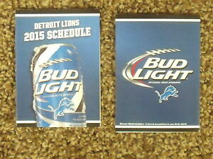 2015 Detroit Lions (NFL) Bud Light can cover football pocket schedule