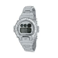White Gold Tone Custom Baguette Bezel Real Authentic Casio G-Shock DW 6900 Watch