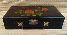 Ancienne boite à bijou bois laqué, déco florale vintage old french jewels box