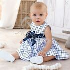 Baby Toddler Girls Kid Bowknot Cotton Top Plaid Dress Outfit Clothing SZ 0 1 2 3