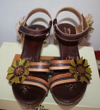 New Spring Step Women's Lavish Brown Leather Flower Strap Sandal  Heels