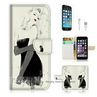 ( For iPhone 7 ) Wallet Case Cover P0001 Black Dress Girl