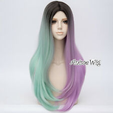 68CM Lolita Long Wavy Black Mixed Light Green Purple Party Ombre Cap Cosplay Wig