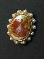 Delightful  Small Oval Goldtone seed Pearl   Glass Fragonard  brooch