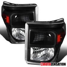 11-16 Ford F250 F350 F450 F550 Super Duty Pickup Black Headlights Lamps Pair