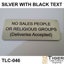 NO SALES PEOPLE SIGN OR RELIGIOUS GROUPS SIGN 10CM X 4.5CM - TLC-046
