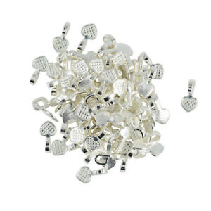 100 Glue on Bails Pendant Hanger Heart Silver White Tone Jewelry Making 16mm