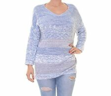 Style&co. Wome's Marled Strip Long Sleeve Pull over Sweater Blue Size  L