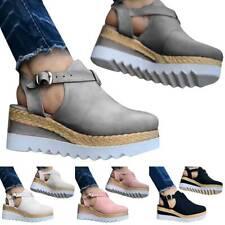Damen Wedge Plateau Sandalen Keilabsatz Sandaletten Freizeit Schuhe Sommerschuhe