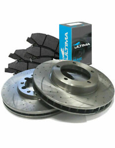 SLOTTED DIMPLED FRONT 240mm BRAKE ROTORS & ULTIMA PADS D473S x2 CIVIC 91~96 1.5L