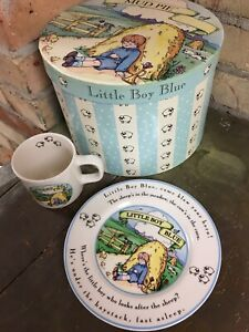 Mud Pie Little Boy Blue Plate and Cup New in Hat Box Mother Goose Rhyme