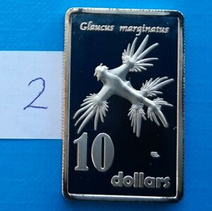 Solander Islands 10 dollars 2017 aUNC Blue Sea Slug Rectangular Proof 40mm